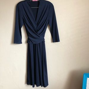 Eliza J Navy Blue Wrap/Tie Dress